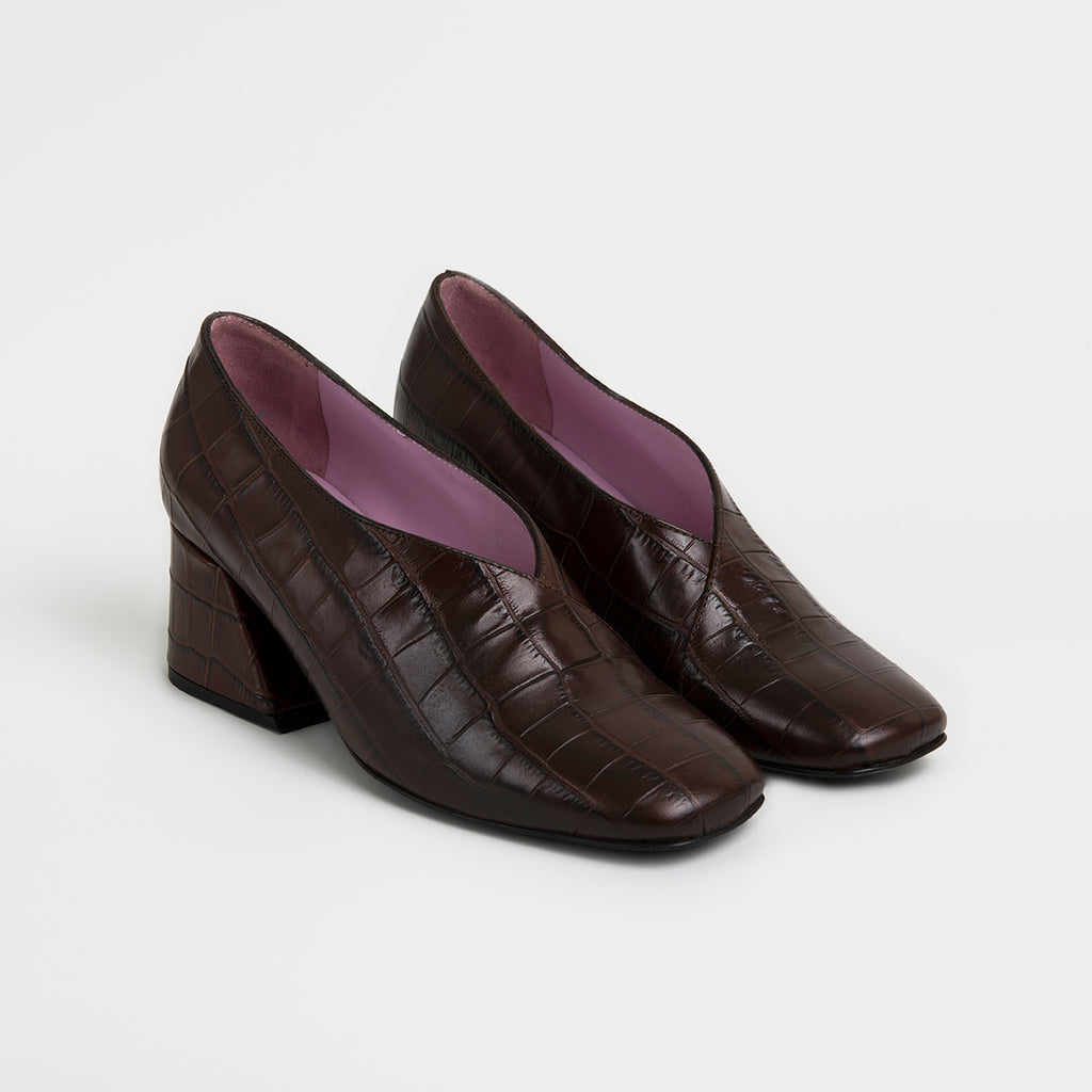DALE CROCK - Brown Leather Mid Heel Pumps