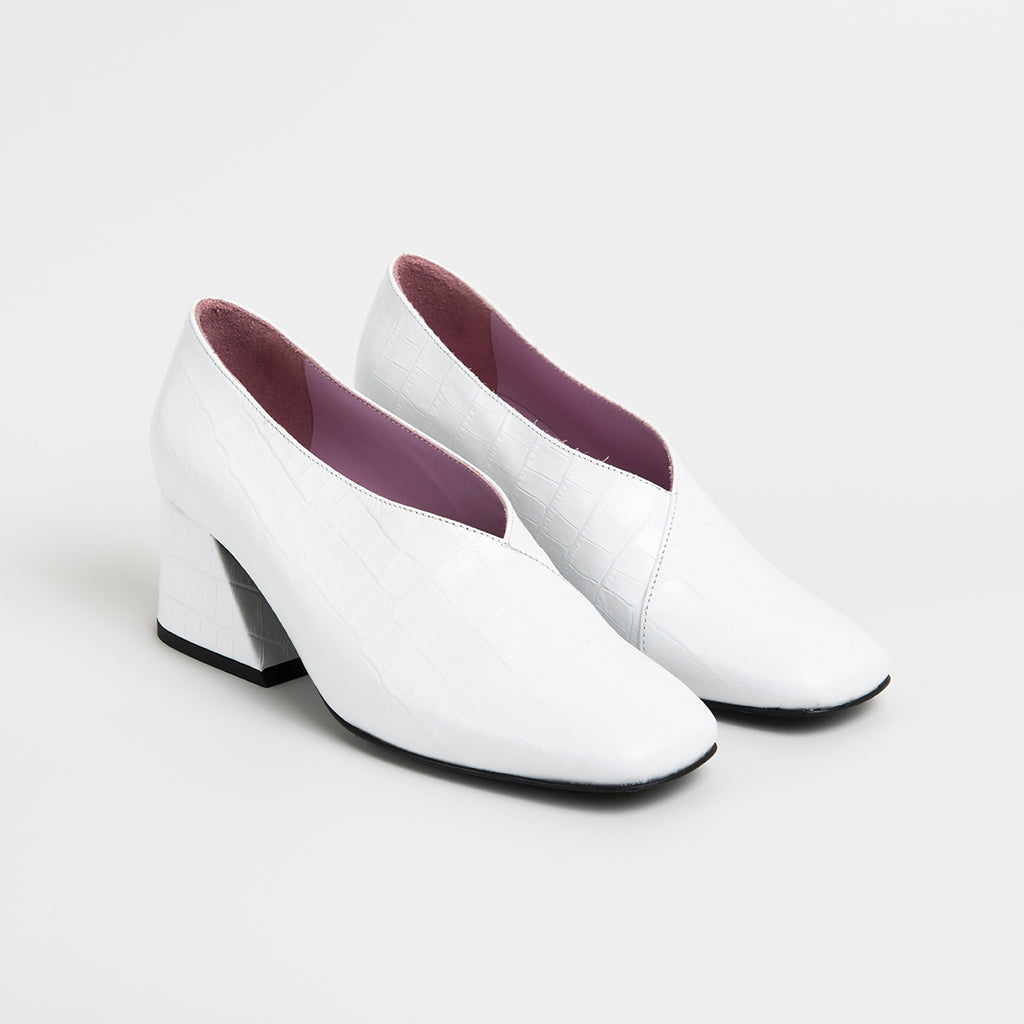 DALE - White Leather Mid Heel Pumps