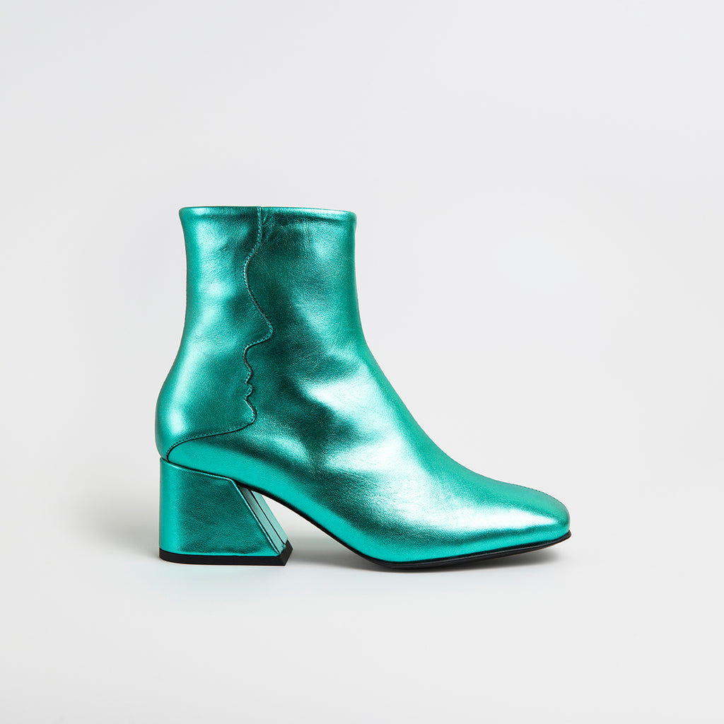 GALAXY - Emerald Green Metallic Mid Heel Boots