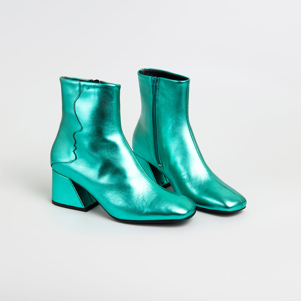 ||  SAMPLE SALE  ||  GALAXY - Emerald Green Metallic Mid Heel Boots