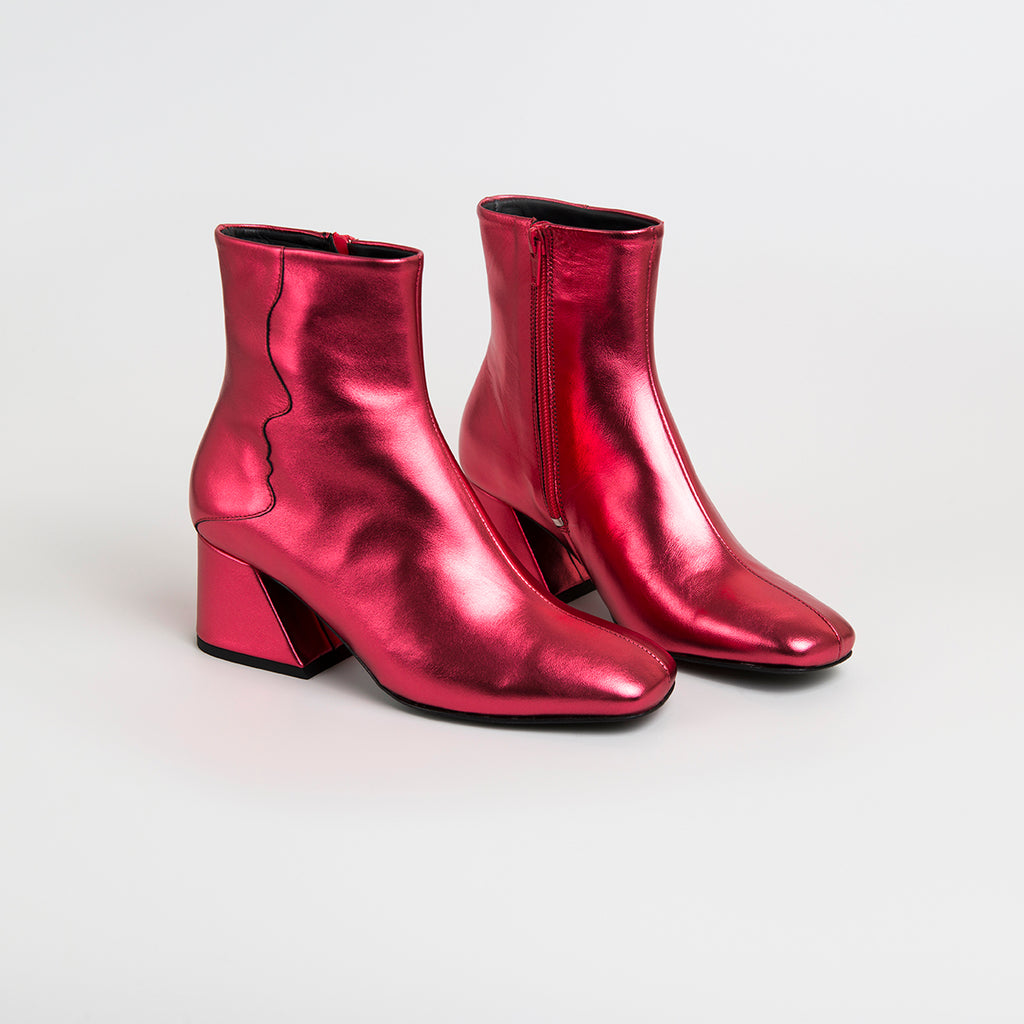 ||  SAMPLE SALE  ||  GALAXY - Red Metallic Mid Heel Boots