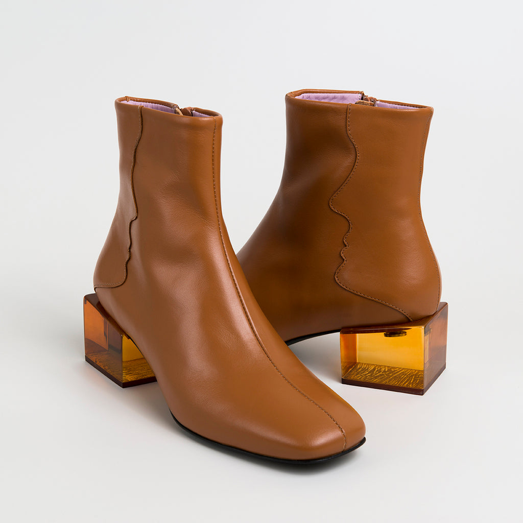 || SAMPLE SALE || STATUETTE - Camel Leather Acrylic Heel Boots