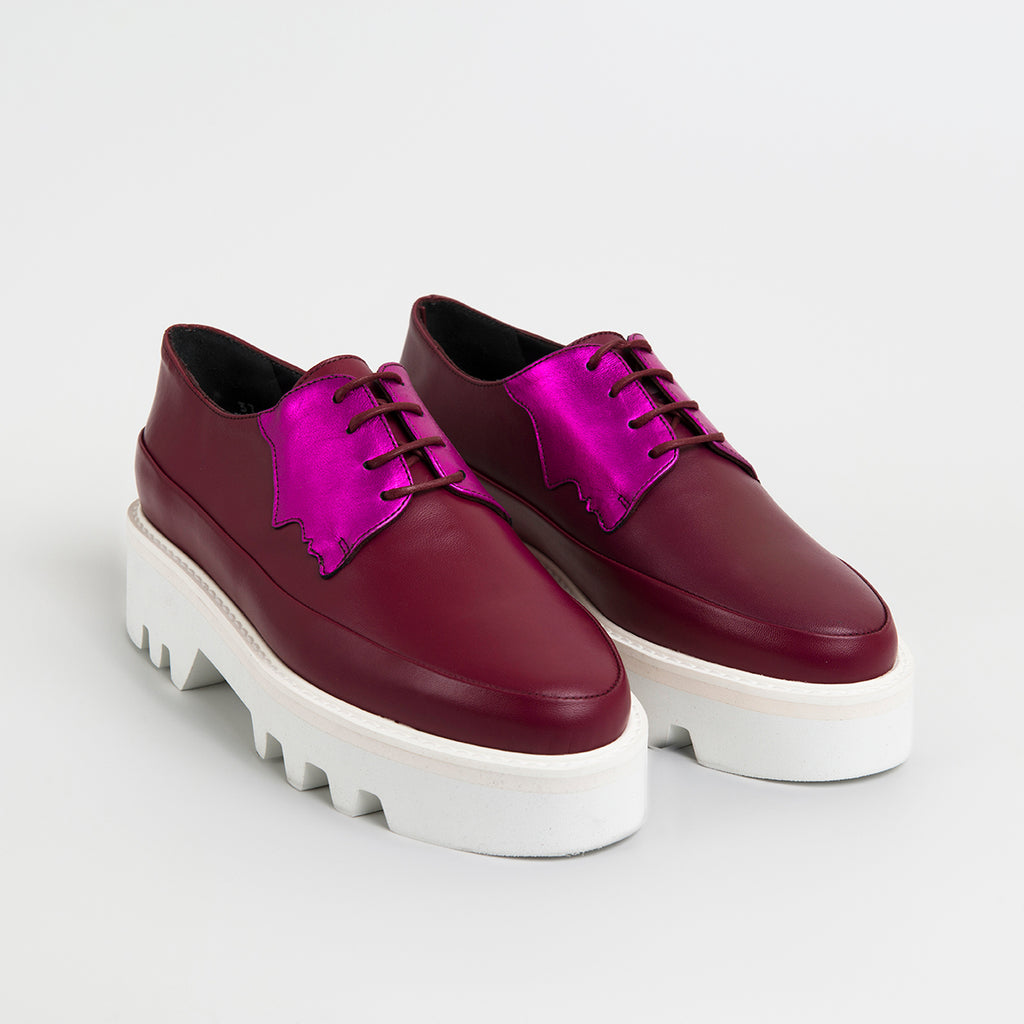 ||  SAMPLE SALE ||  FACED - Fuchsia Leather Platform Creepers