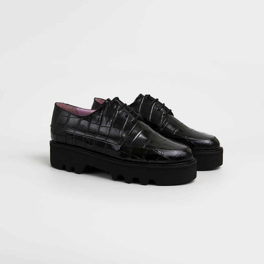 STEP UP - Black Leather Platform Creepers