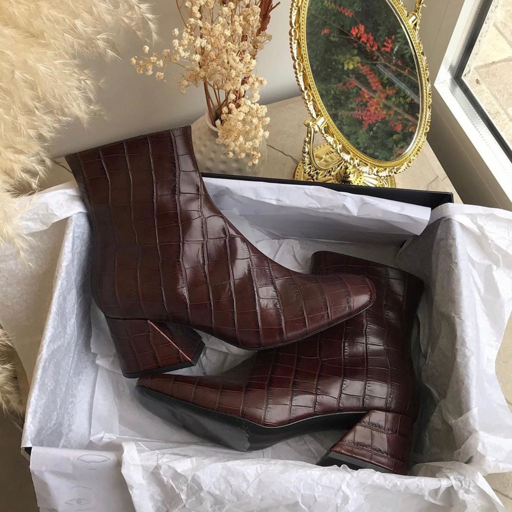 DORIC - Brown Leather Square Toe Boots