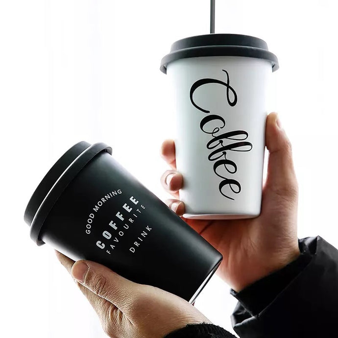 travel coffee cup with metal straw and silicone lid