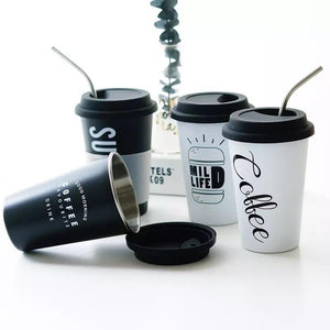 stainless steel travel coffee cup with metal straw and silicone lid