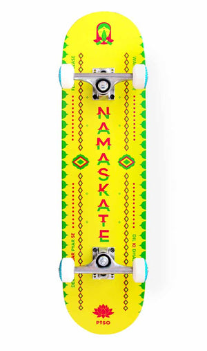Bottom view of namaste skateboard