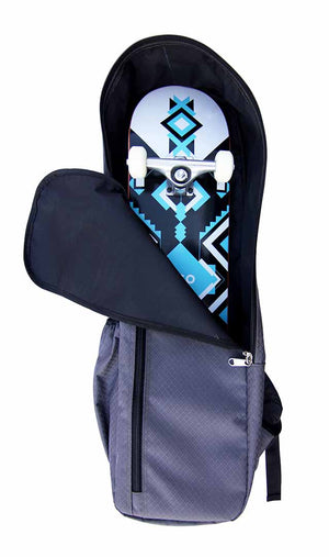 Front view of bag with skateboard