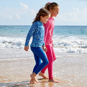 Girls Active Swim Tights paired with a 1/2 Zip Ruched Sun and Swim Shirt