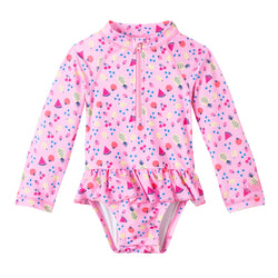 Baby Girl's Long Sleeve Ruffled Swim Suit | FINAL SALE
