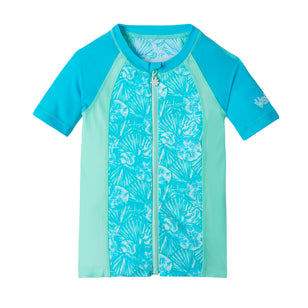 Girl's Short Sleeve Full Zip Rashguard