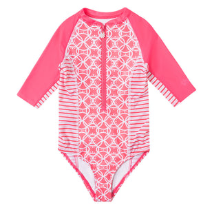 Girl's Short Sleeve Half Zip Swim Suit | FINAL SALE