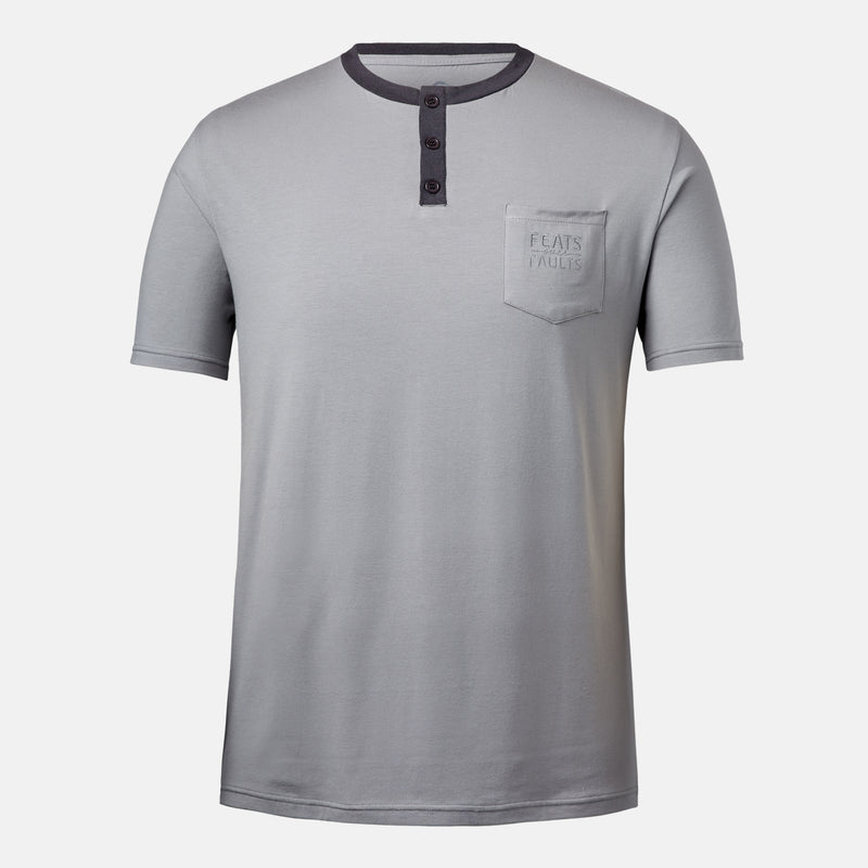 Feats Over Faults Short Sleeve Henley Tee