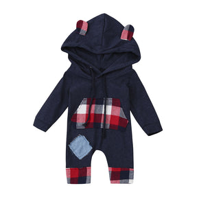 Newborn Baby Romper Cute Kids Baby Bear Grid Hoodie Boys Girls Outfits Clothes Jumpsuit Body Menina