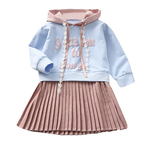Letter Hooded Princess Dresses Sweatshirt Clothes
