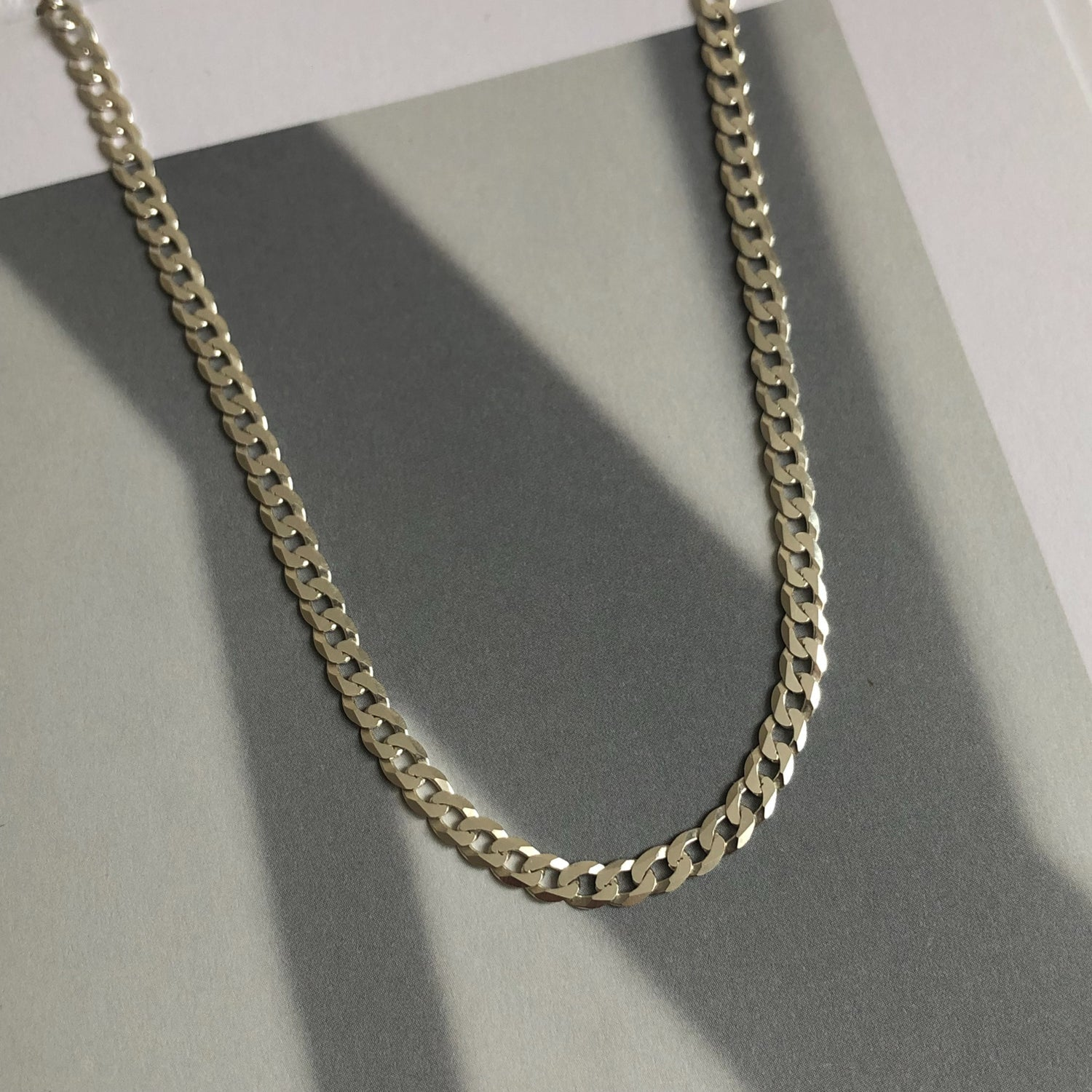 Diamond cut sterling silver curb chain