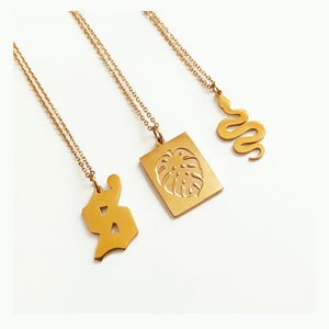 Lowercase Old English initial necklace gold - Neckontheline
