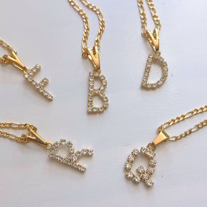 Gold filled Diamanté initial necklace - Neckontheline