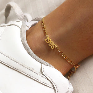 Birth date anklet - Neckontheline