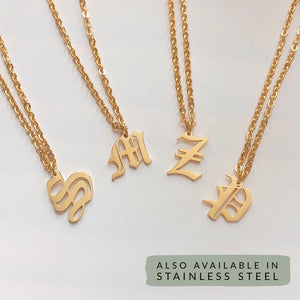 Uppercase initial necklace - Neckontheline