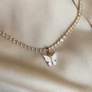Diamanté pearl butterfly collar