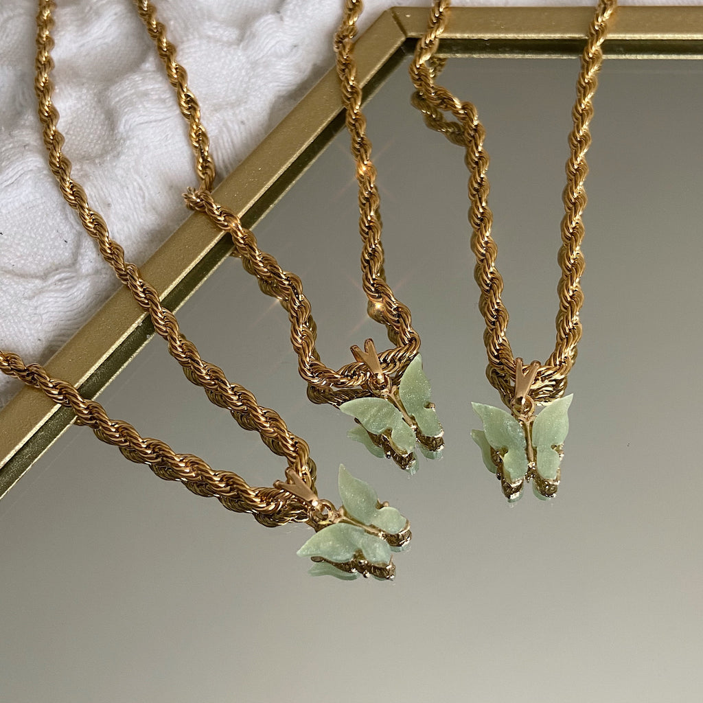 Sage Butterfly Chain
