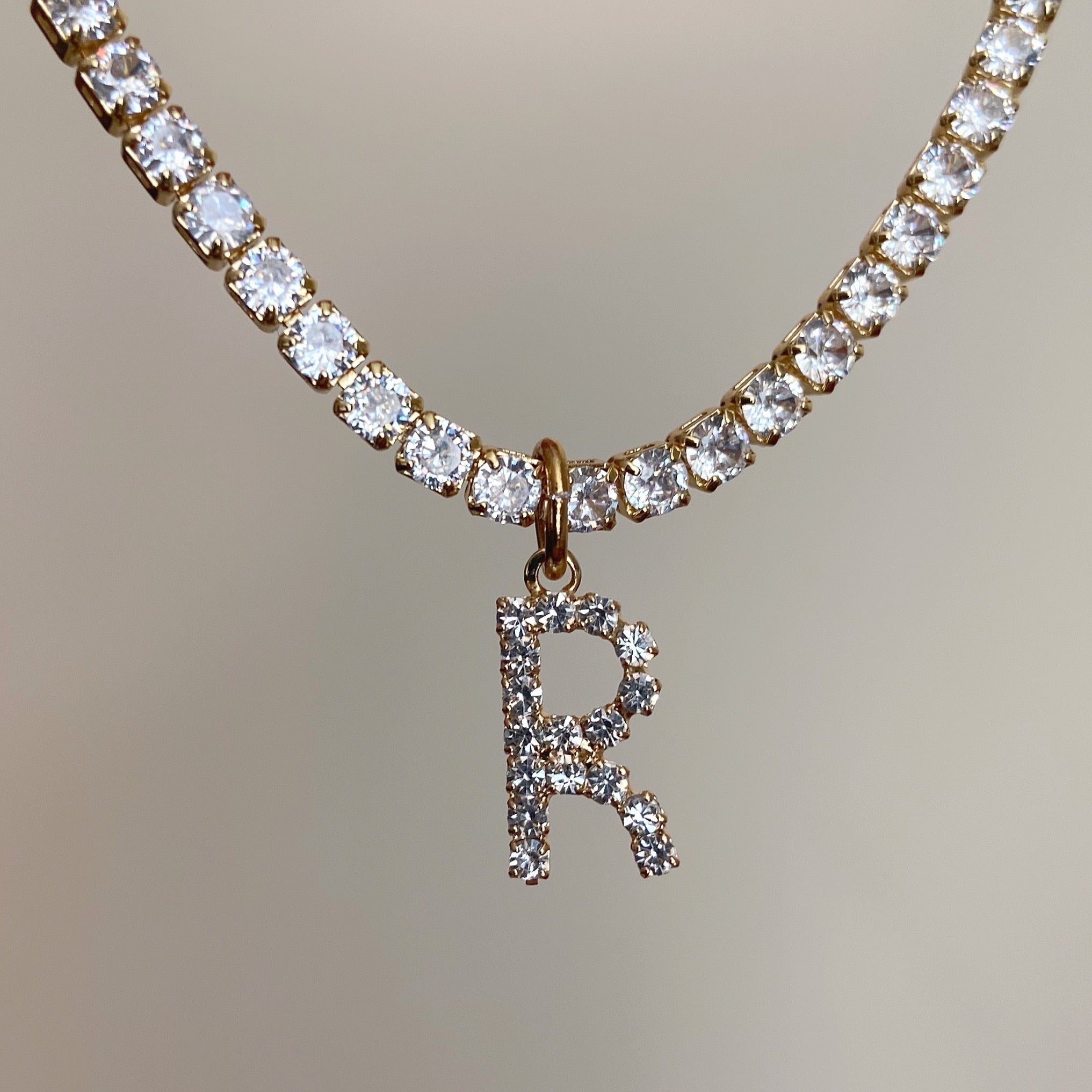 Diamanté initial collar