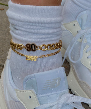 Chunky Birth date anklet