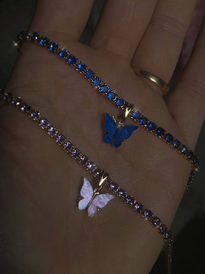 LIMITED EDITION  Diamanté butterfly collar in Lilac