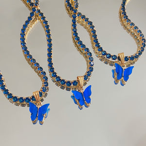 LIMITED EDITION  Diamanté butterfly collar in Cobalt