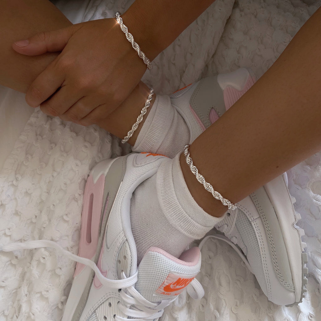 Chunky Rope anklet SILVER
