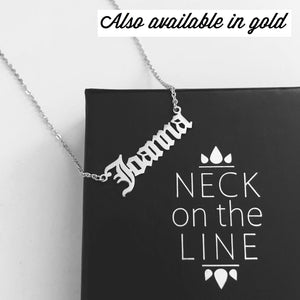 Old English Name plate Necklace *COLOUR SELECTION - Neckontheline