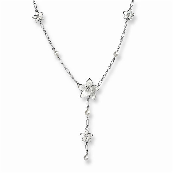 Nicole Barr Flower Necklace Diamonds & Pearls