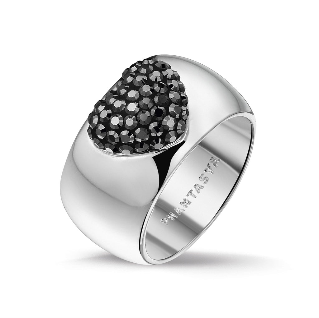 Phantasya Jewellery Rhodium Plated Ring with Swarovski