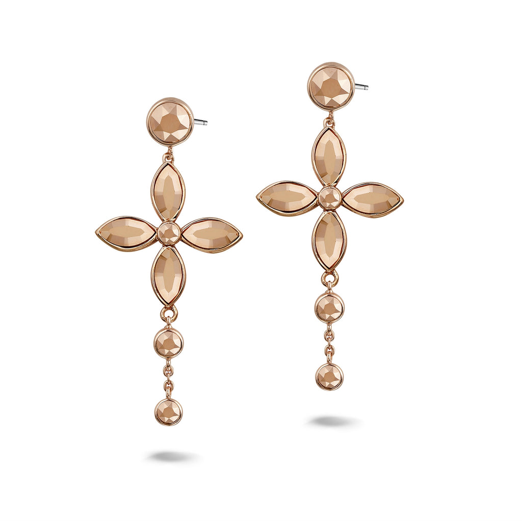 Phantasya Jewellery Rose Gold Plated Chandelier drop Earrings with Swarovski