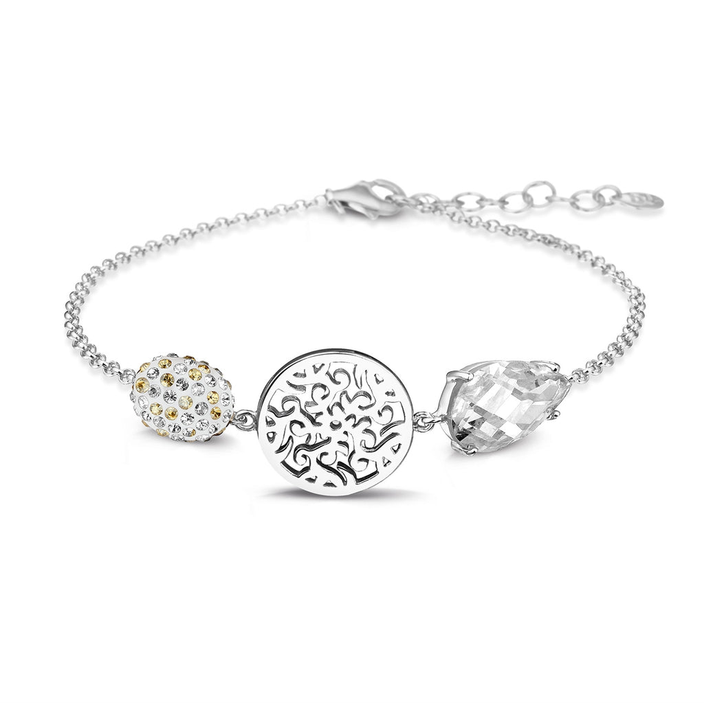 Phantasya Jewellery White Rhodium Plated bracelet with Swarovski