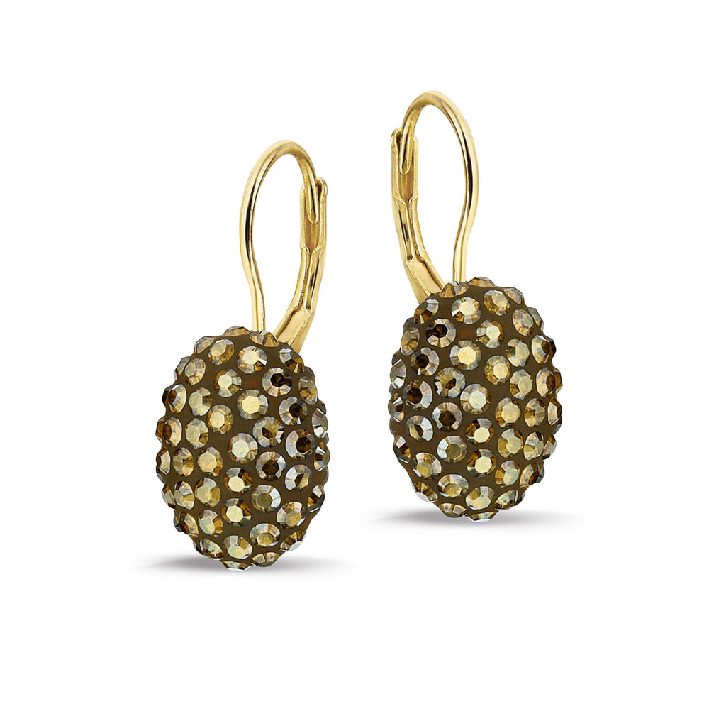 Phantasya Jewellery Gold Plated Oval Hook Earrings with Swarovski