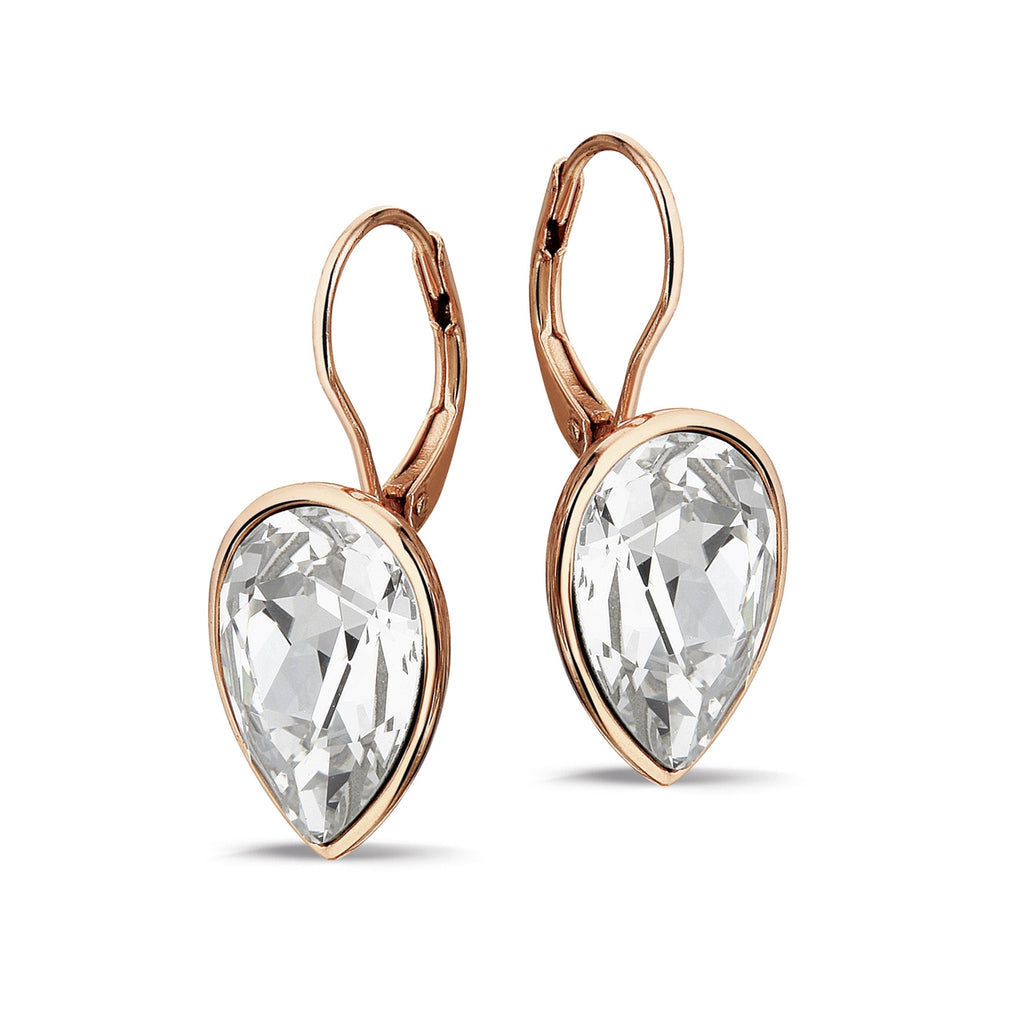 Phantasya Jewellery Silver Rose Gold Plated Pear Drops with Swarovski