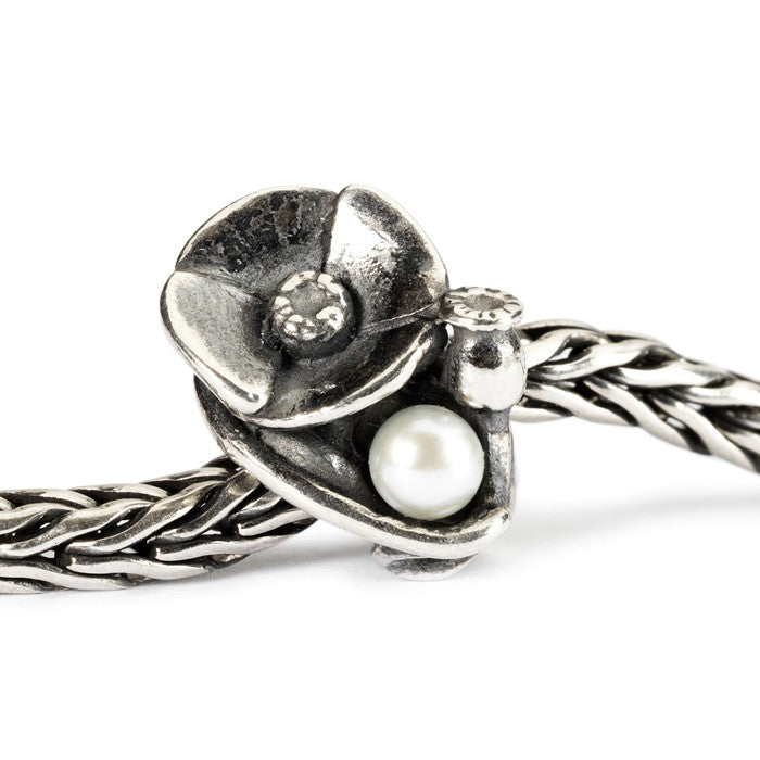 Trollbeads SILVER Poppies of August TAGBE-00034