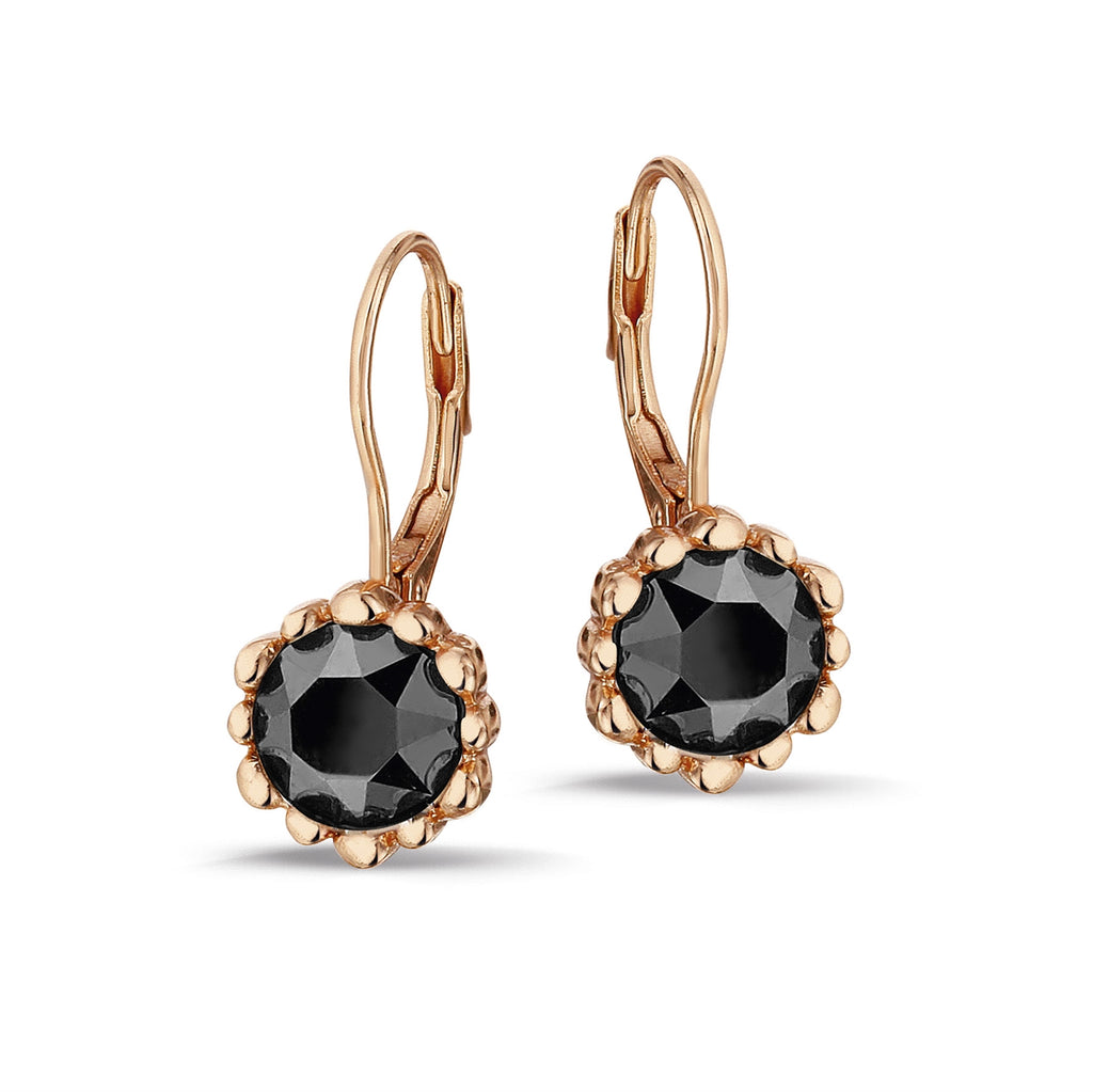 Phantasya Jewellery Rose Gold Drops with Black SWAROVSKI