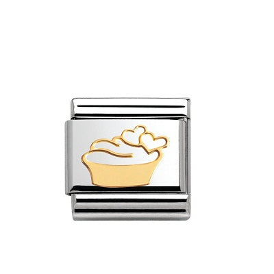 Nomination Charms 18ct Gold Cupcake With Heart