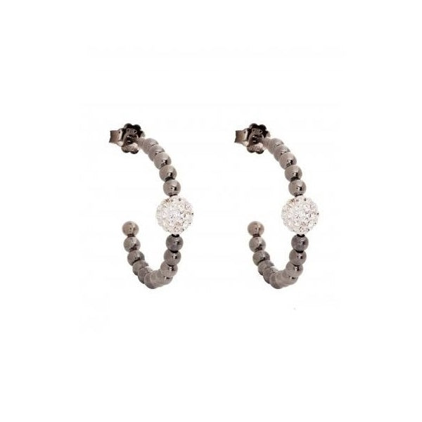 Pure Attraction Hoop Earrings CZ bead - Black