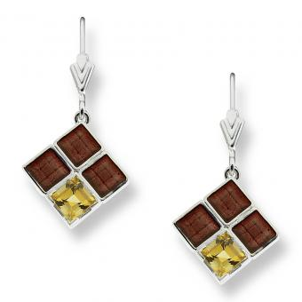 Nicole Barr Square Earrings Citrine