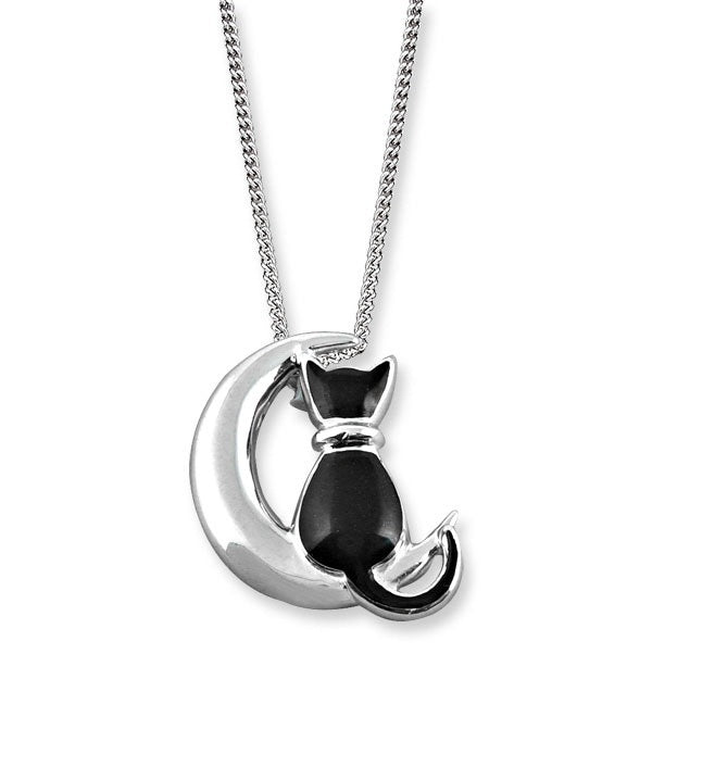 Nicole Barr Cat and Moon Necklace