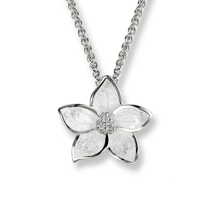 Nicole Barr Flower Necklace White