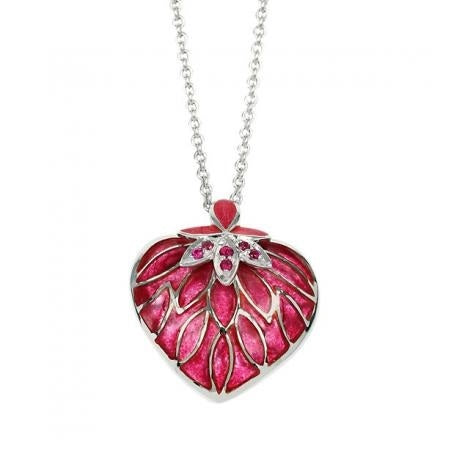 Nicole Barr Heart Necklace Red Ruby Large