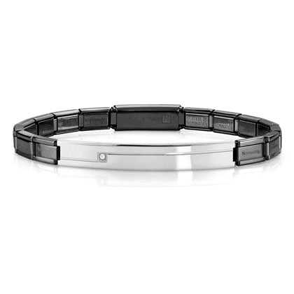 Nomination Trendsetter Bracelet Black and Steel with CZ