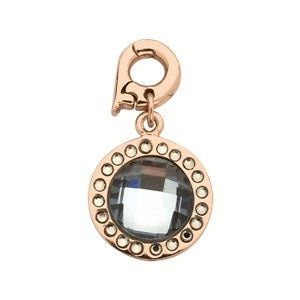 Nikki Lissoni Dangle Charm Rose Gold Plated Chic Grey Blue Mirror Glass
