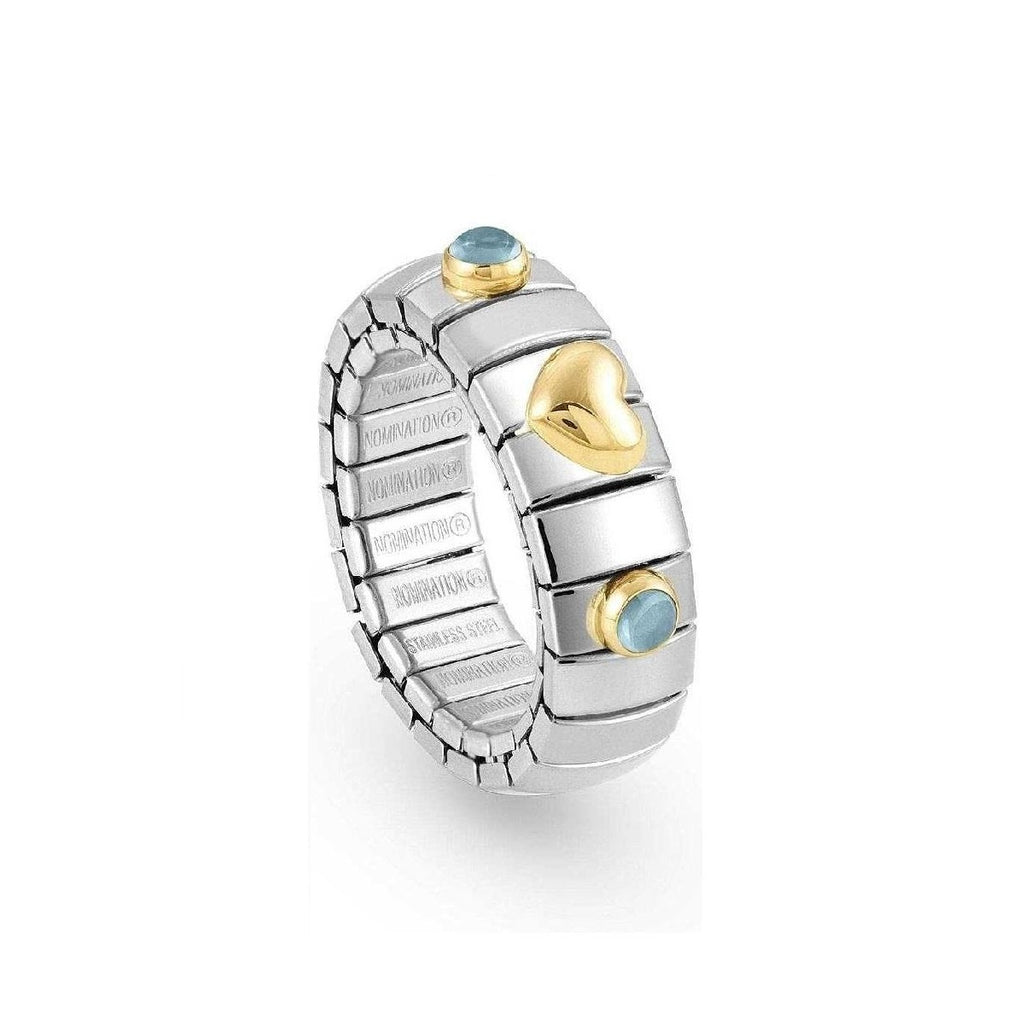NOMINATION Extension Ring Gold Heart and Light Blue Topaz